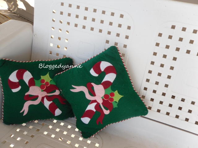 Old Glider with Christmas Pilows