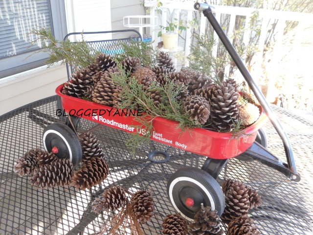 wagon with pinecones